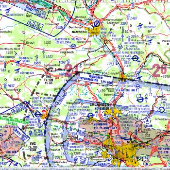 Raum Nürnberg, ICAO-Karte (c) Deutsche Luftsicherung, Stand August 2016